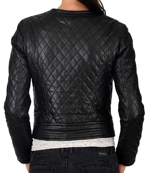 Womens Black Slimfit Collarless Quilted Design Motorcycle