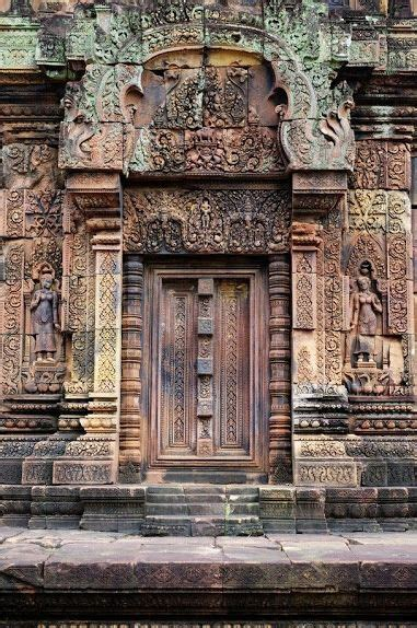 Ancient carved stone door at the Banteay Srei Temple near
