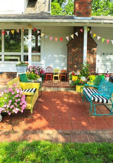 Back patio inspiration colorful porch spray paint
